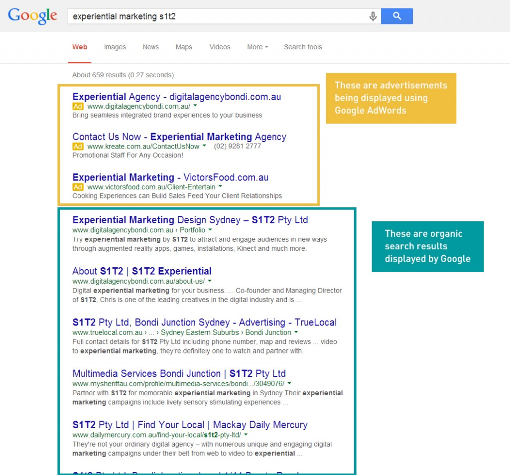Google AdWords Search Results from 'Experiential Marketing S1T2'