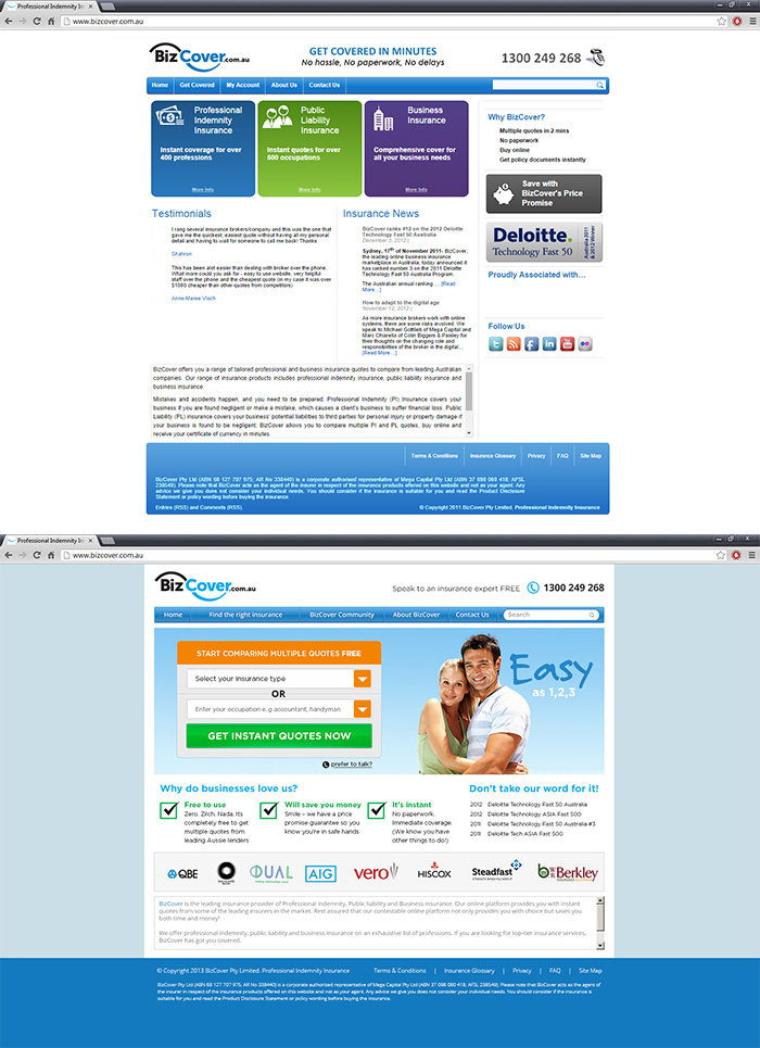 Before and after the BizCover homepage redesign