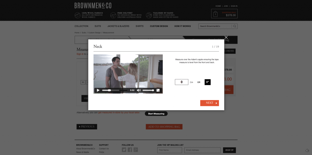 BrownMen&Co Website videos on how to measure neck size