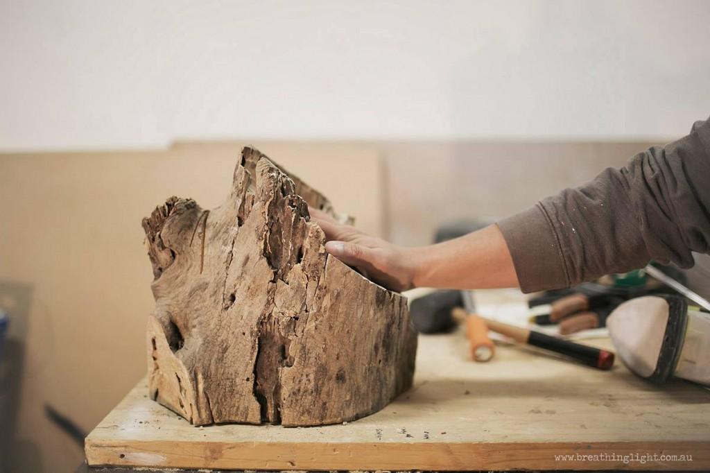 Hand on interactive Wood Stump