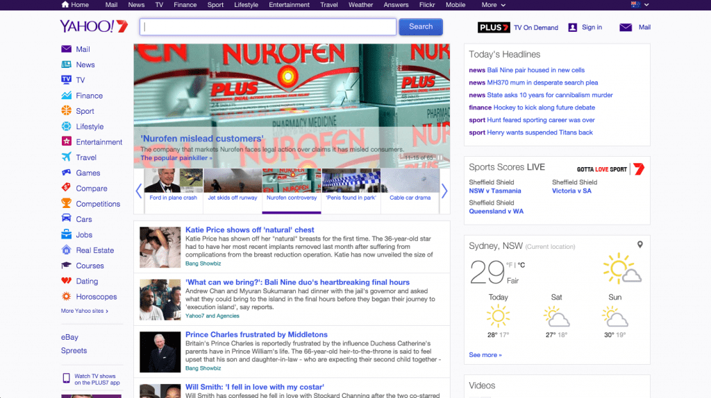 Yahoo's homepage
