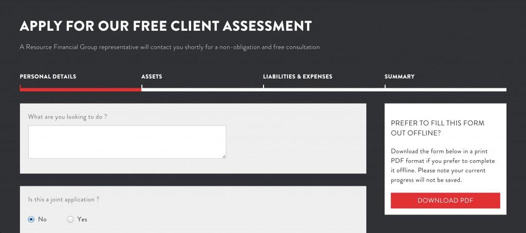 Material Design - Client Assessment Form on ResFinance website
