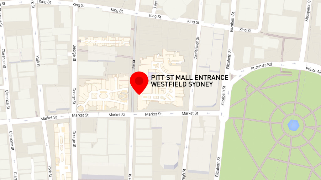 HSBC Wallabies All Access Map pointing to Pitt St Mall
