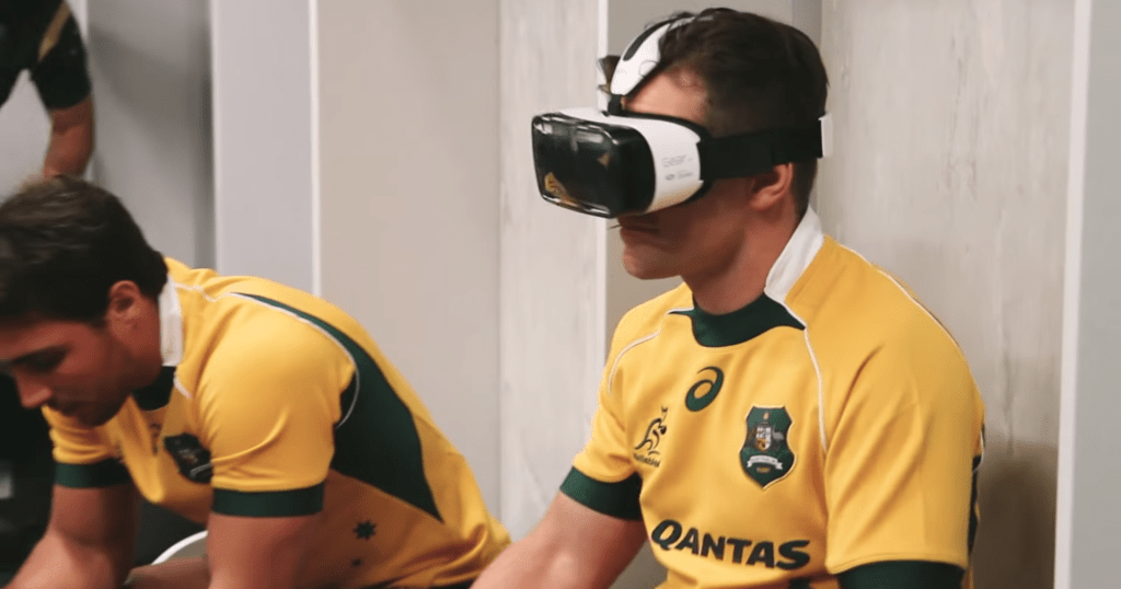 HSBC Wallabies players wearing Virtual Reality headsets