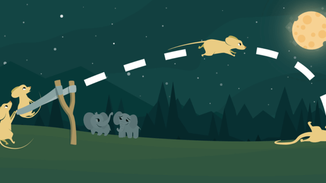 Creative animation of mice being slingshot.