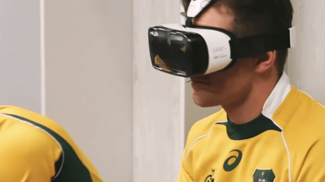 Wallabies player wearing virtual reality headset.