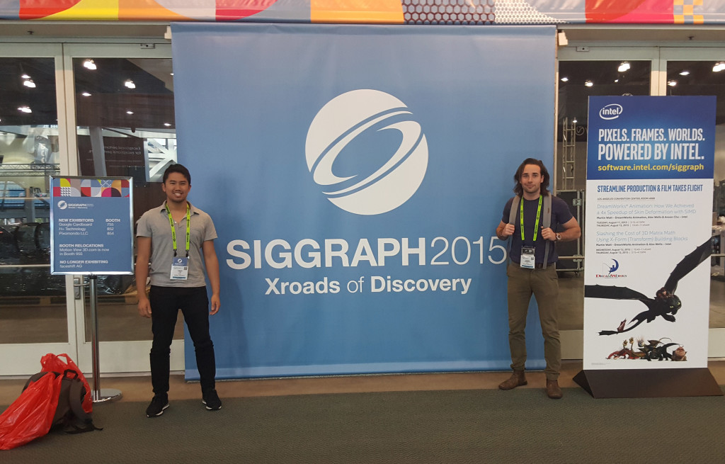 Creative Technology team standing infront of SIGGRAPH 2015 banner