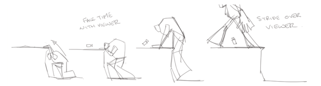 Storyboard sketches of Tibrogargan Giant