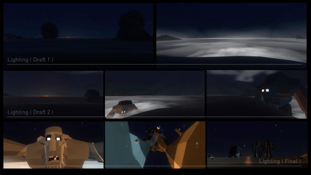 Lighting process for Tibrogargan animated Virtual Reality