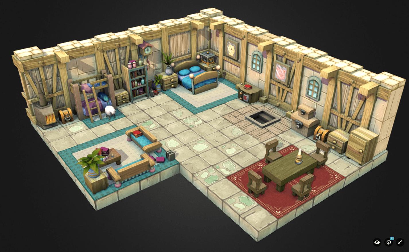 3D Virtual Reality living room
