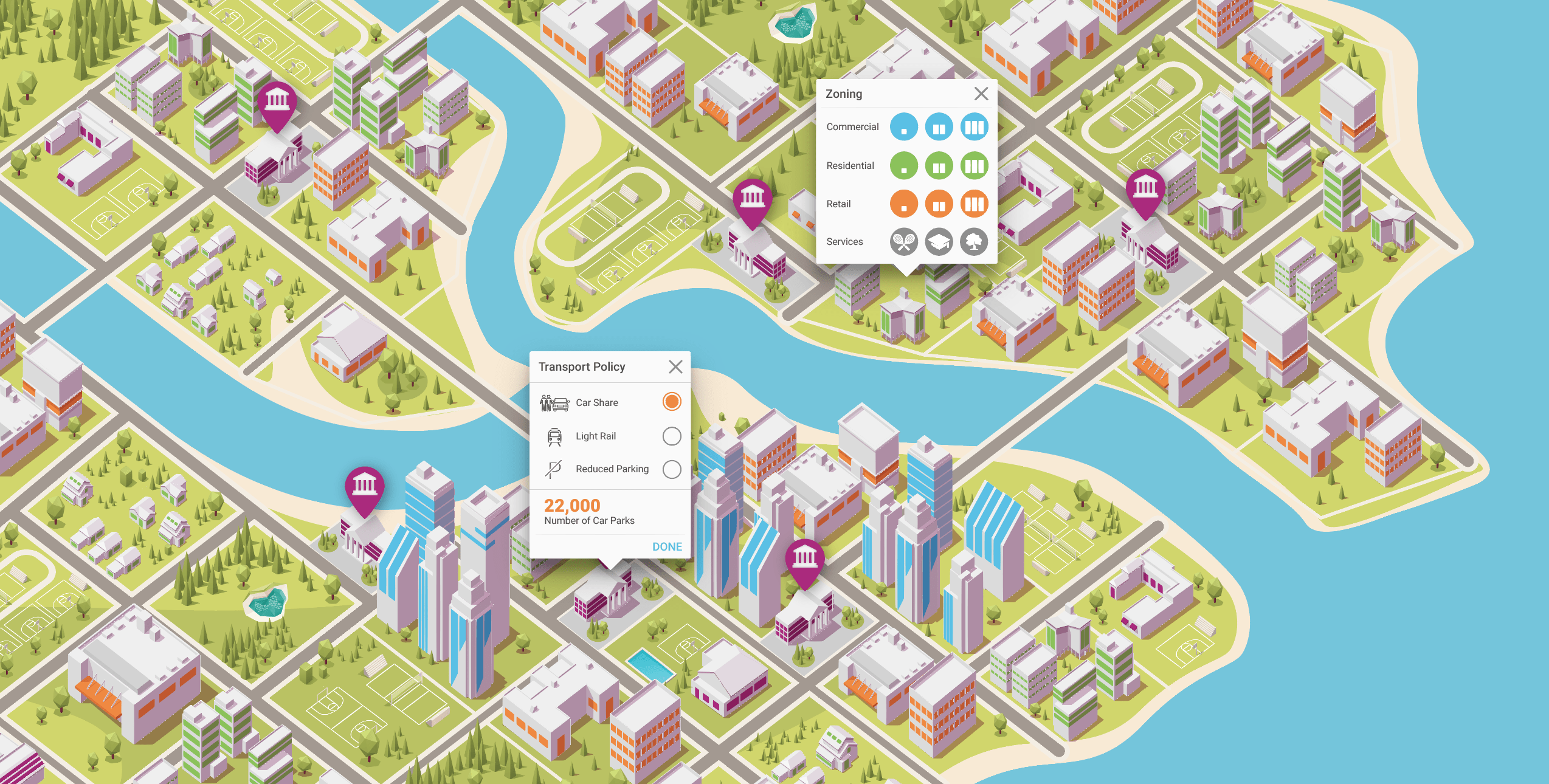 Animated map of interactive city