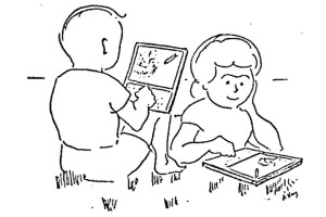 Alan Kay sketch of 2 people playing with computer