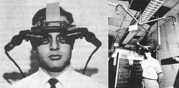 Ivan Sutherland wearing prototype virtual reality goggles