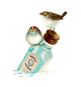 Artwork of two birds resting on Bombay Sapphire bottle