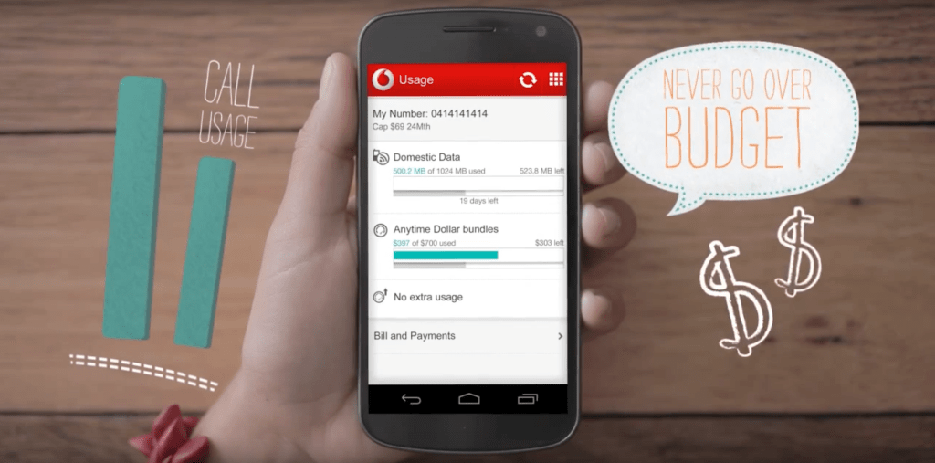 Smart Phone with Vodafone App open monitoring data usage