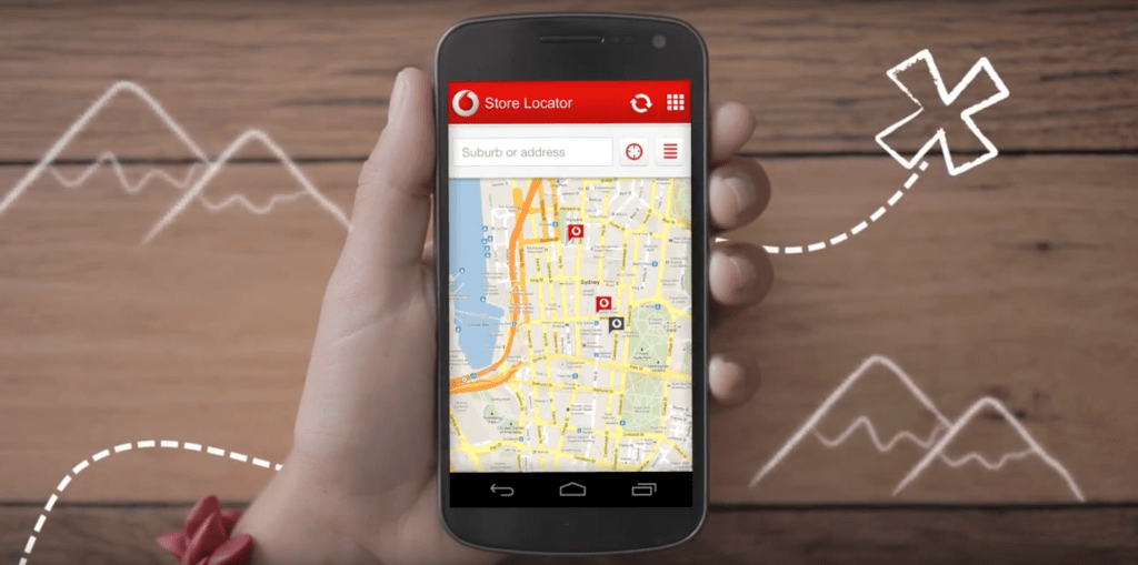 Smart Phone using Vodafone App Store Locator