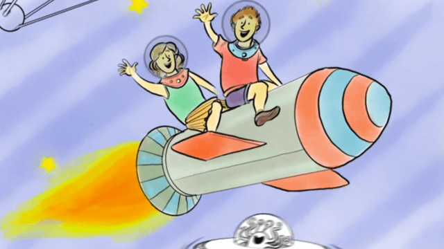NBN Creative Animation of two kids riding rocket.