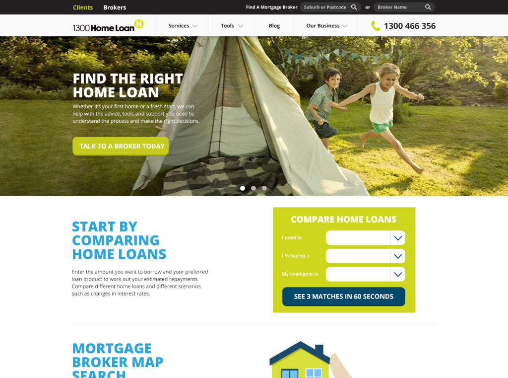 1300HomeLoan Website Homepage with Optimised SEO