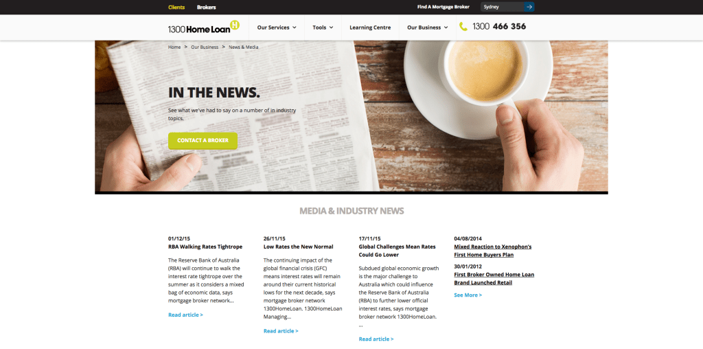 Redesigned News and Media page on 1300HomeLoan website