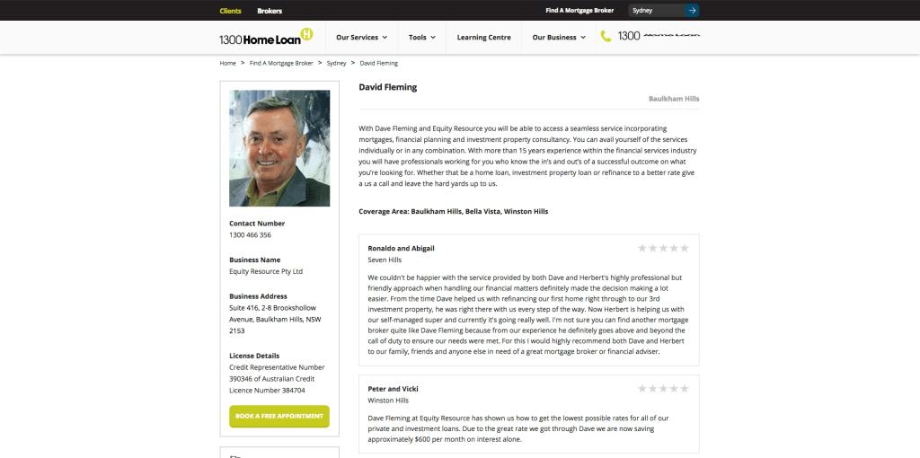 Redesigned Broker Profile webpage on 1300HomeLoan