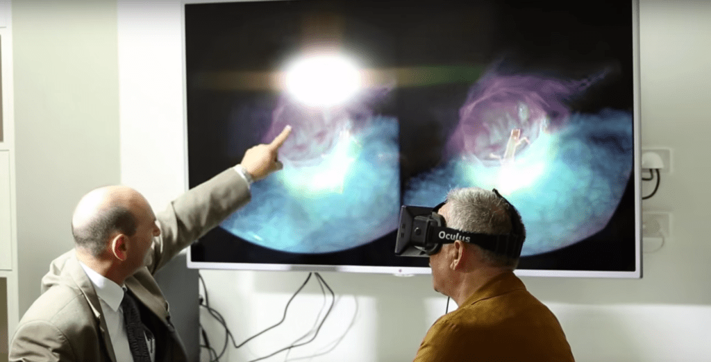 User wearing Virtual Reality Goggles to view illness