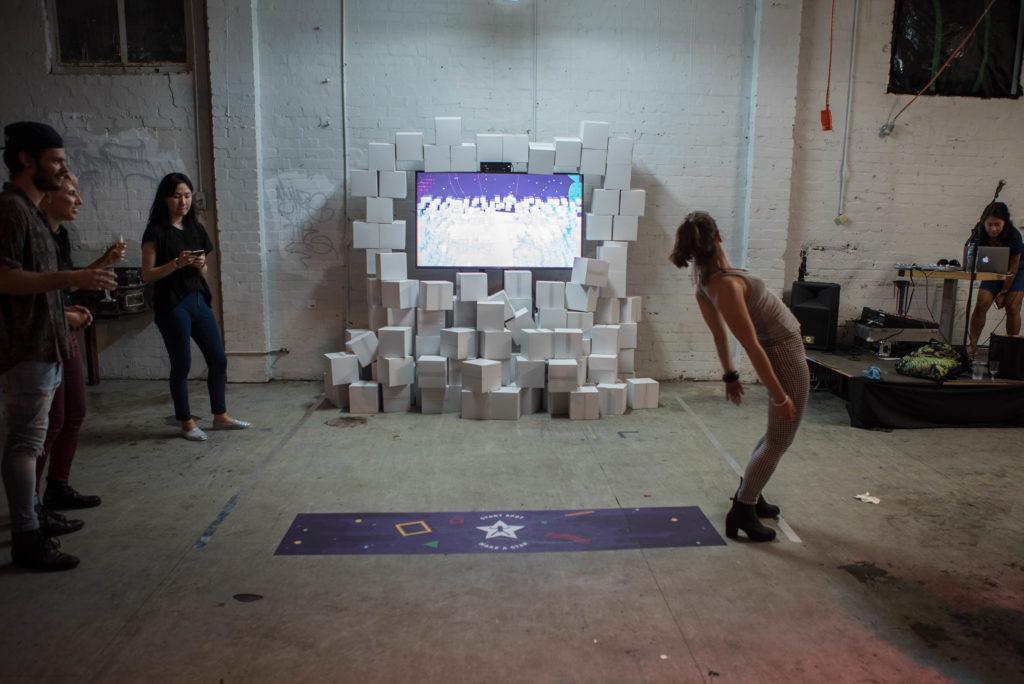 User playing Interactive Human Tetris Game