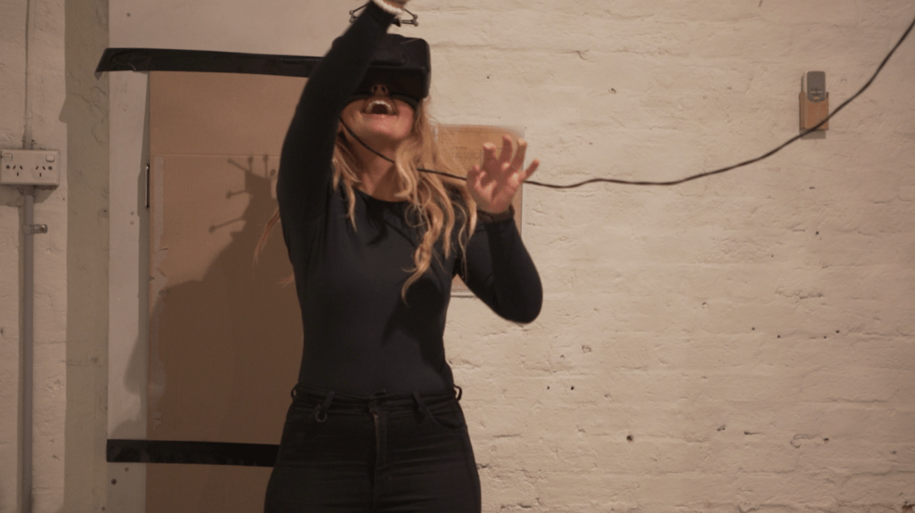 Participant playing Motion Tracking Virtual Reality Game