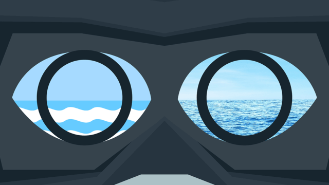 Digital Ocean Virtual Reality Goggles Headset Graphic.