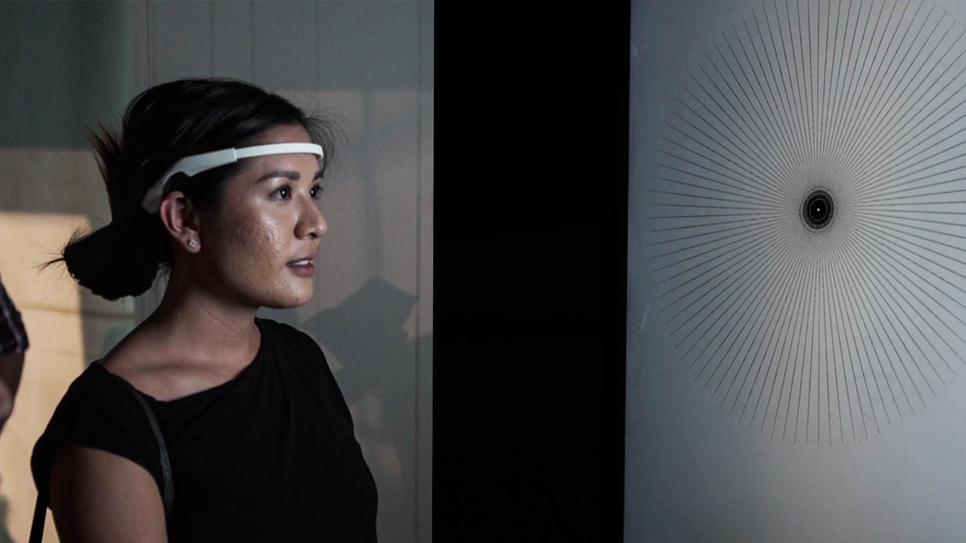 User wearing EEG headset