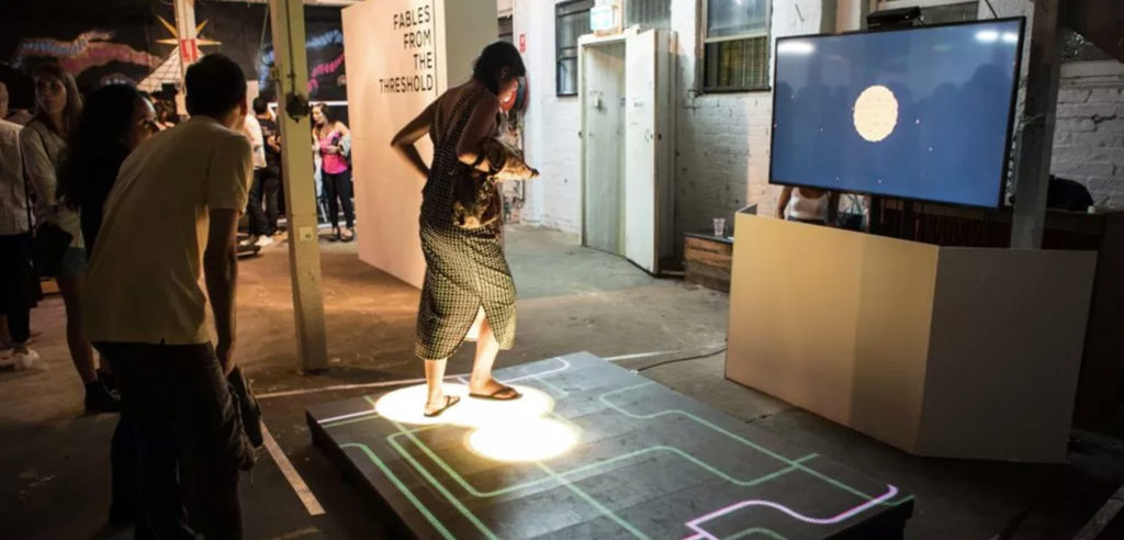 User playing on interactive LED floor