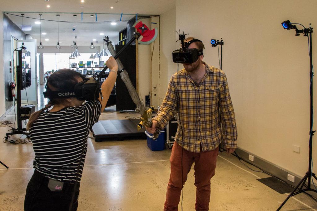 Users playing wuth OptiTrack Virtual Reality