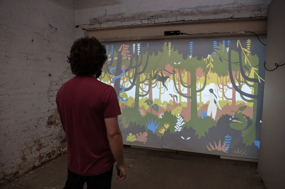 User participating in a FABLES interactive technology