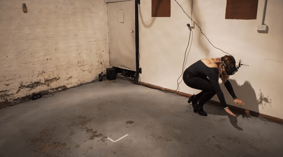 User participating in Virtual Reality Motion Tracking Anti-Game