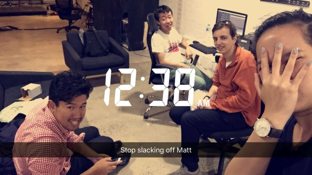 Snapchat Screenshot of S1T2 Team working a late night