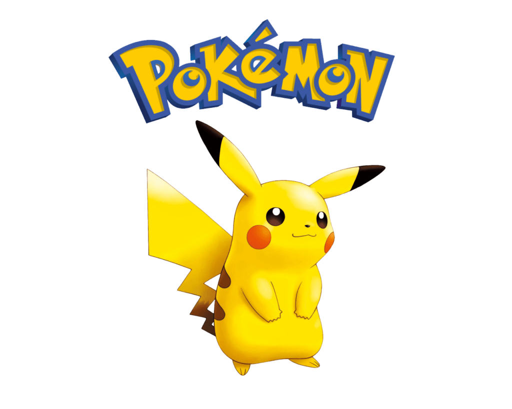 Pikachu underneath Pokemon Logo