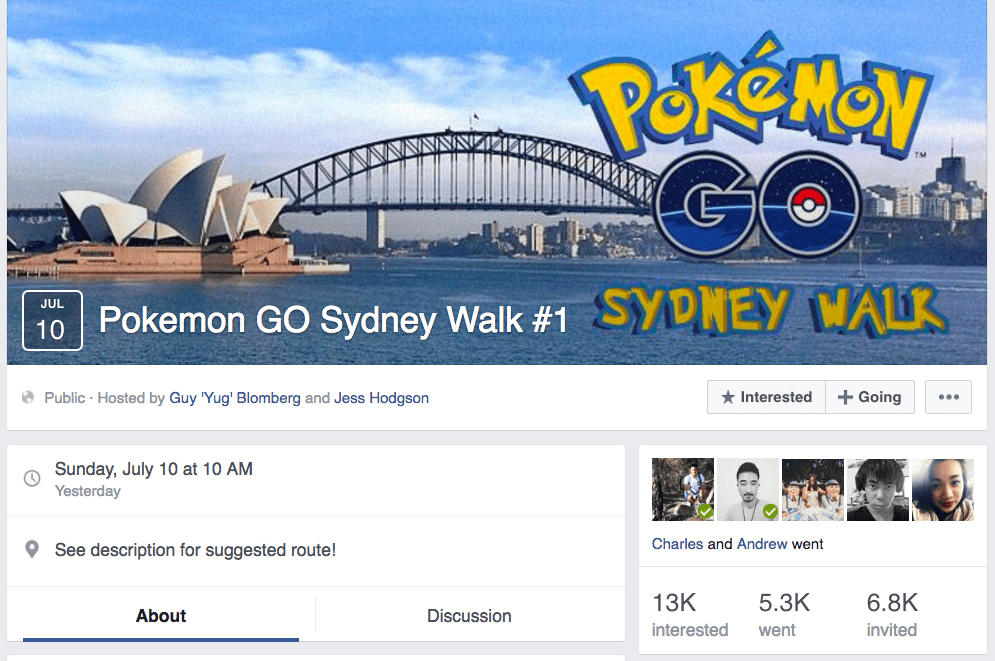 Pokemon GO Sydney Walk Meet-up Event on Facebook