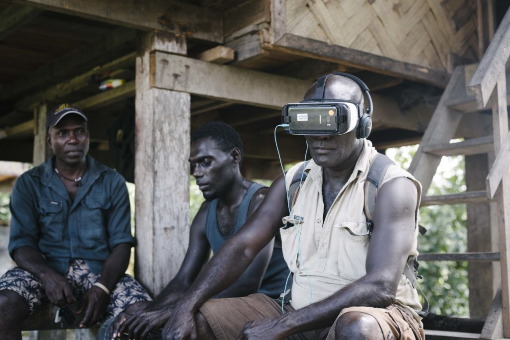 Bougainville locals testing the virtual reality documentary