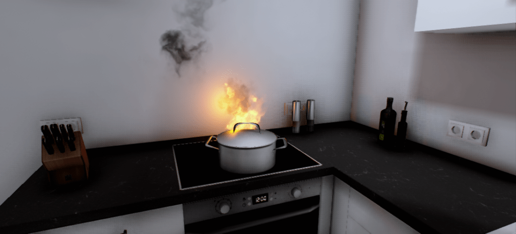 Kitchen Fire game mechanic in Virtual Reality