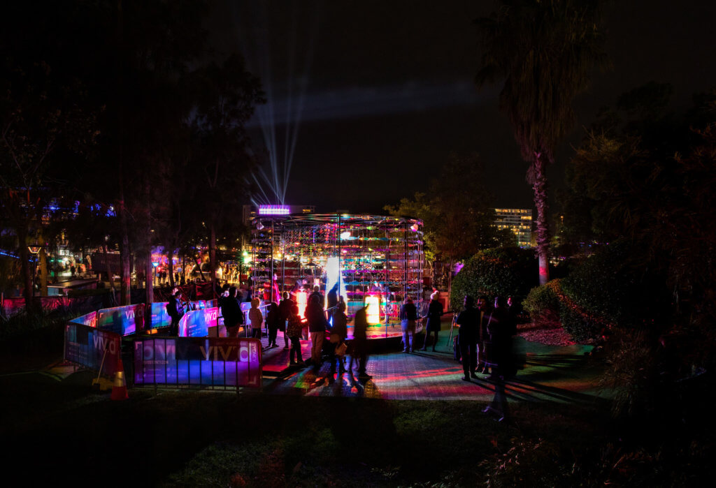 Revive The Reef installation in the distance at Vivid Sydney 2018
