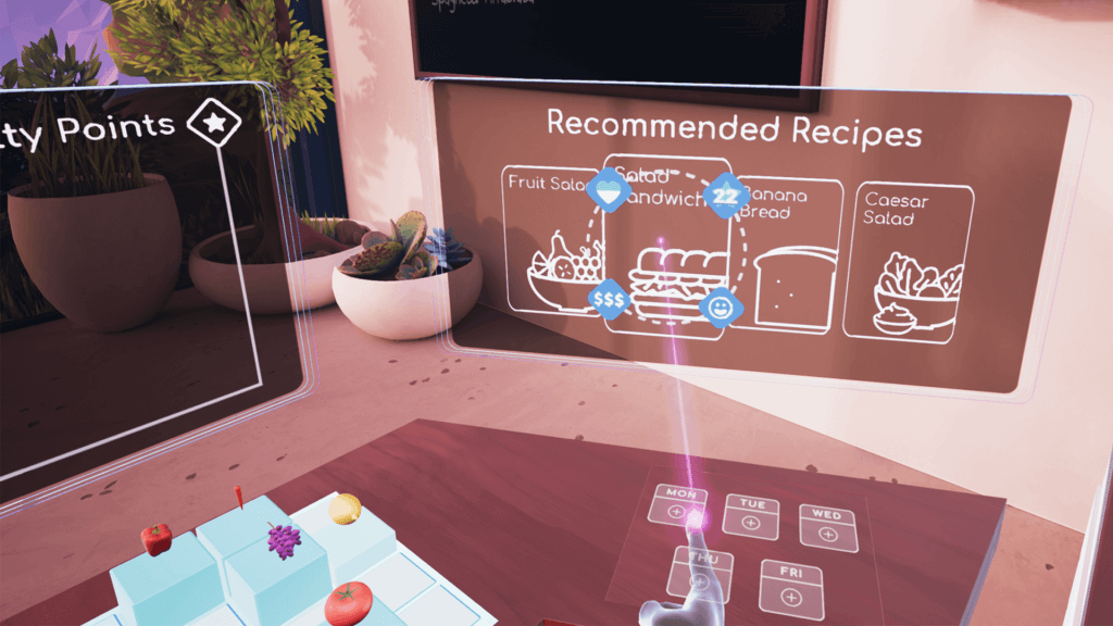 Recommended recipes UI in Future of Retail VR
