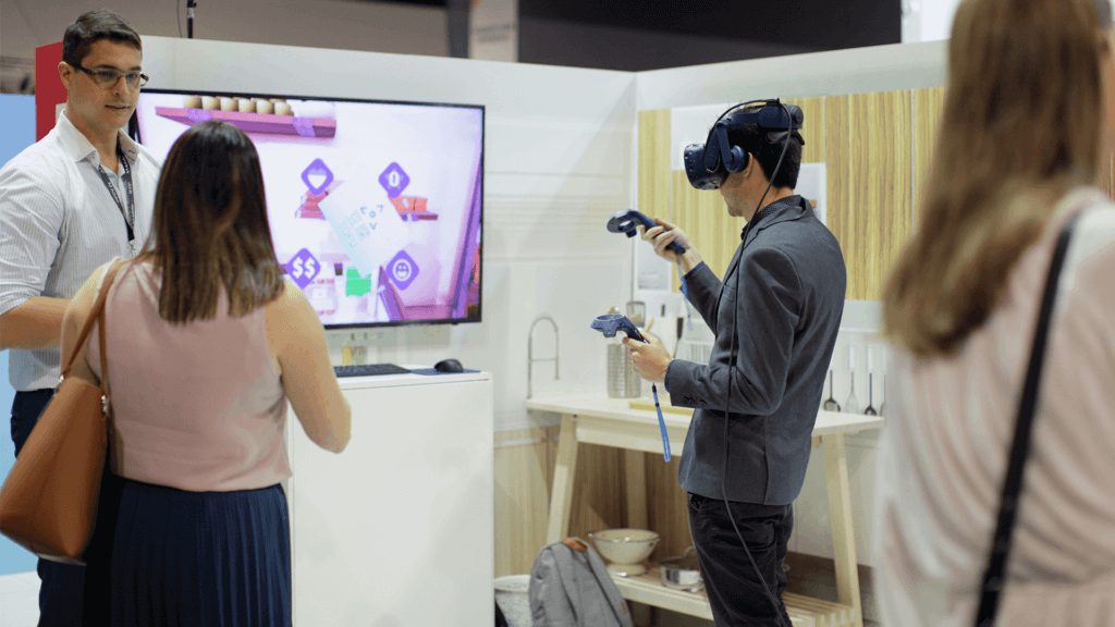 Man interacts with the Future of Retail virtual reality experience