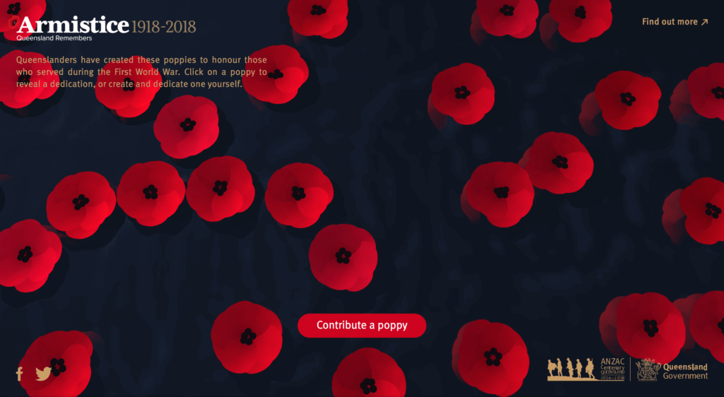 Homepage for Queensland Remembers website