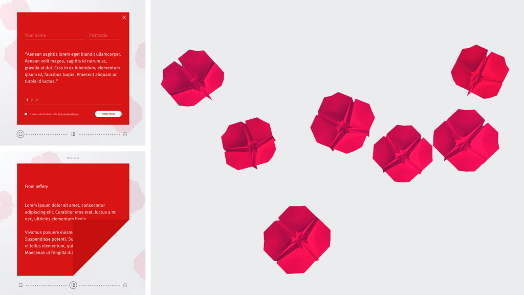 Origami concept for poppies on the Queensland Remembers site