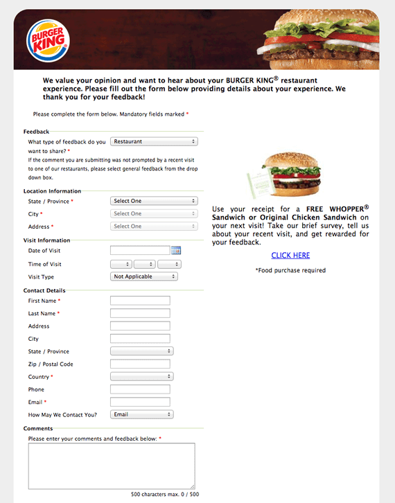 Outdated website form design from Burger King