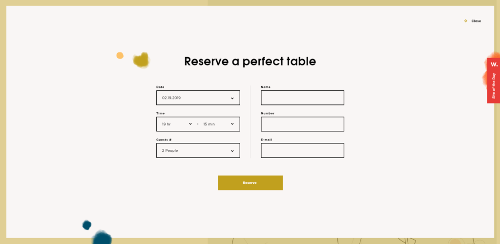 Spicy No Spicy's well designed reservations website form