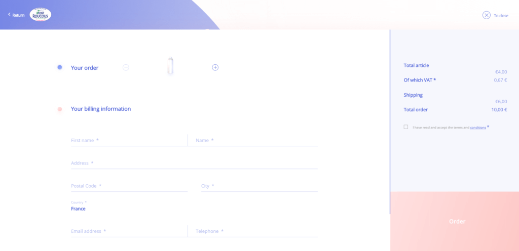 Example separating web form by checkout stages