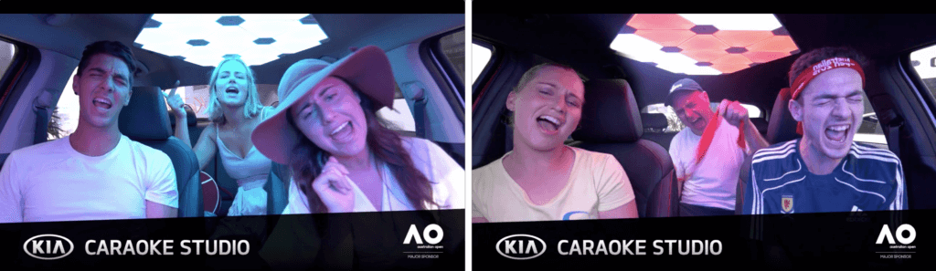 Teams karaoke with tennis stars in Kia Caraoke at the Australian Open