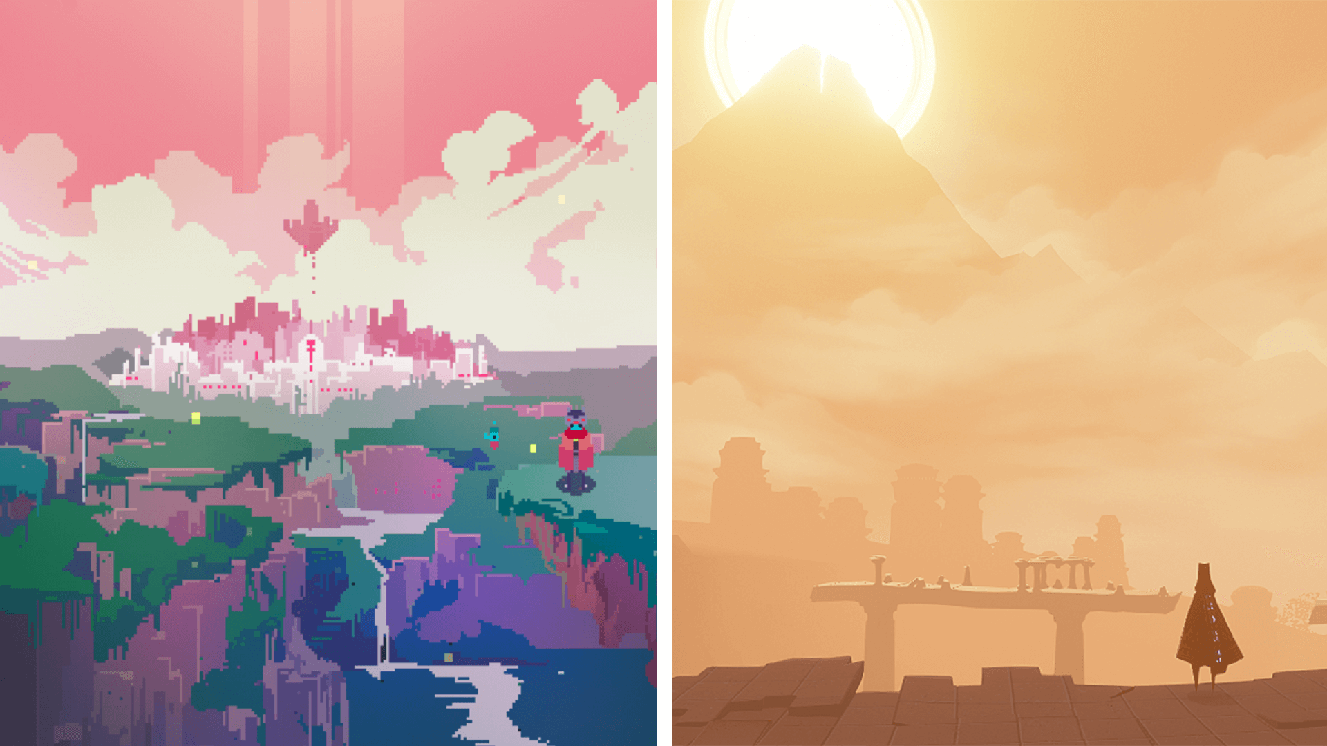 Screenshots from Hyper Light Drifter and Journey video games