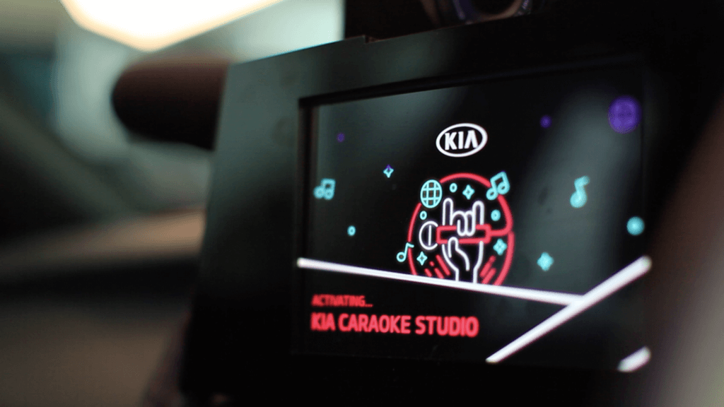 Screen from inside the Kia Caraoke experience at the 2019 Australian Open