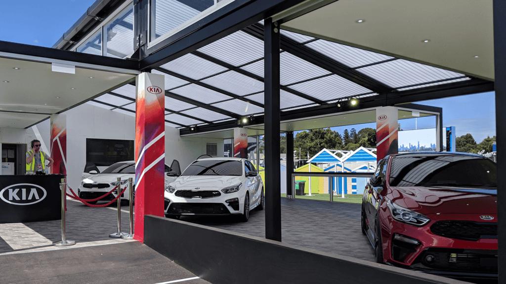 Kia Cerato cars at the Kia Caraoke experience during the 2019 Australian Open
